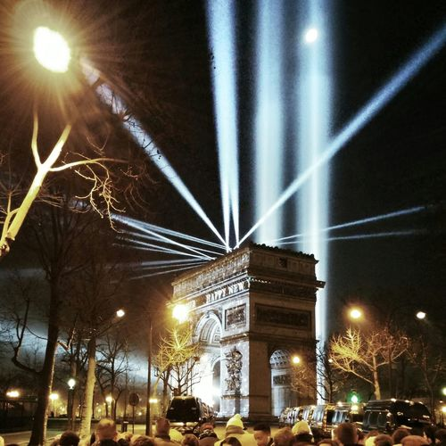 Crowd Arc De Triomphe Night Lights Paris Happy New Year