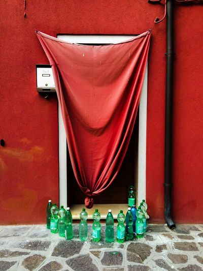 Burano, Italy Colors Door Cats Venice Venice Lagoon Red Water bottles, to descourage cats from peeing, in Burano