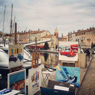 Sainttropez France Provence Harbour street painting