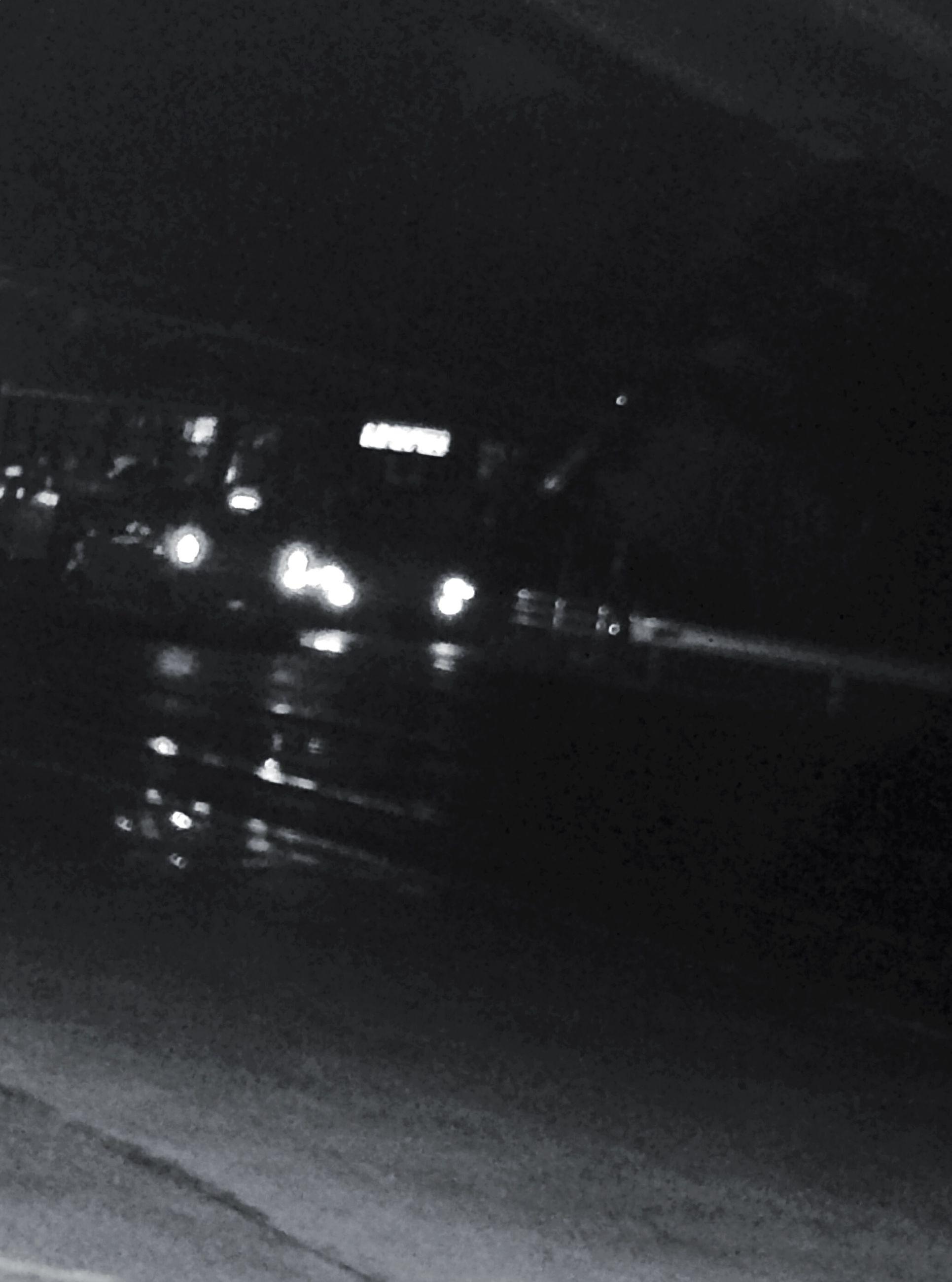 transportation, illuminated, night, mode of transport, car, road, land vehicle, street, lighting equipment, on the move, road marking, street light, travel, indoors, no people, motion, high angle view, rain, city