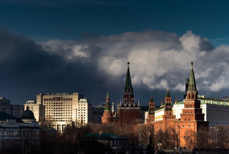 Moscow kremlin against cloudy sky