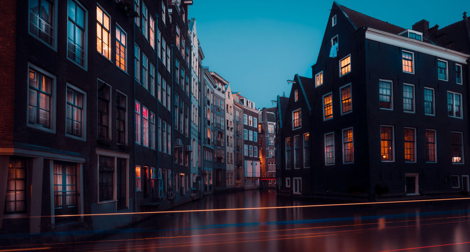 Remo SCarfo Architecture Building Exterior Built Structure Building City Sky Window No People Reflection Nature Illuminated Dusk Residential District Outdoors Water Waterfront Night Blurred Motion Canal Row House Apartment Amsterdam Dutch Holland