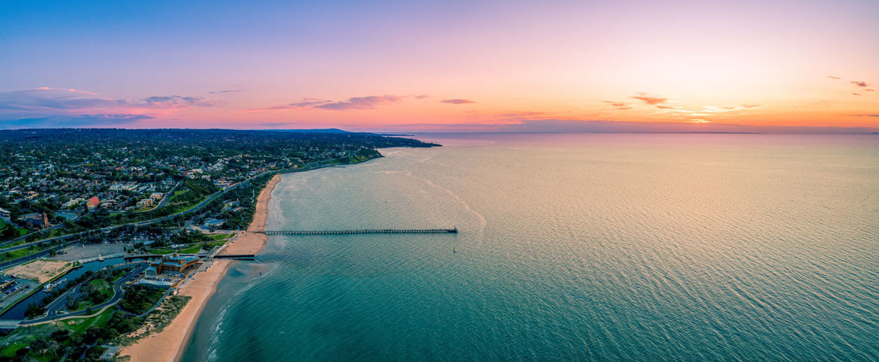 Aerial panorama of beautiful sunset over frankston waterfront in melbourne, australia