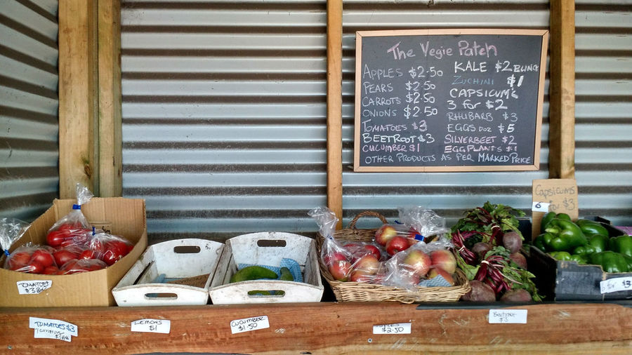 Blackboard  Close-up Day Food Freshness Fruit Stand Healthy Eating Indoors  No People Text