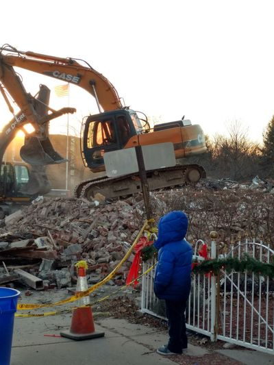 police station being torn down Demolished Building Hanover Twp Working Occupation Manual Worker Industry Agriculture Outdoors