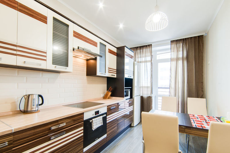 Indoors  Home Domestic Room Home Interior Kitchen Furniture Modern Lighting Equipment Wood - Material Domestic Kitchen Home Showcase Interior Absence No People Window Flooring Wealth Luxury Architecture Table Seat Light Electric Lamp