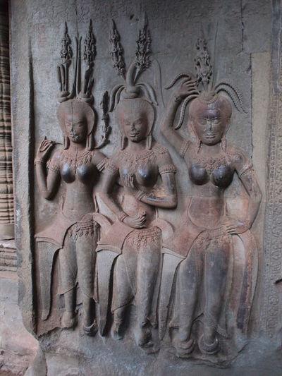 Apsara reliefs at Angkor Ancient Civilization Angkor Angkor Wat Apsara Art Bare-breasted Cambodia Cambodian Celestial Culture Dancer Female Human Representation Relief Sculpture Statue Stone
