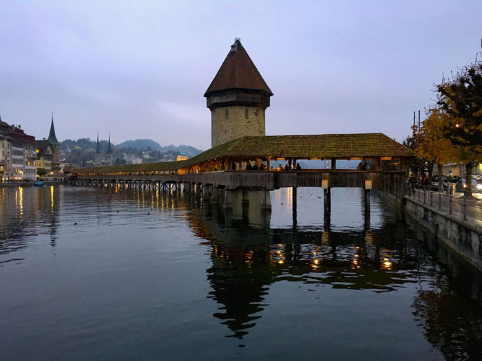 Architecture Chapel Bridge (Kapellbrucke) Lucerne, Switzerland Outdoors Reflection Vacation Water Waterfront