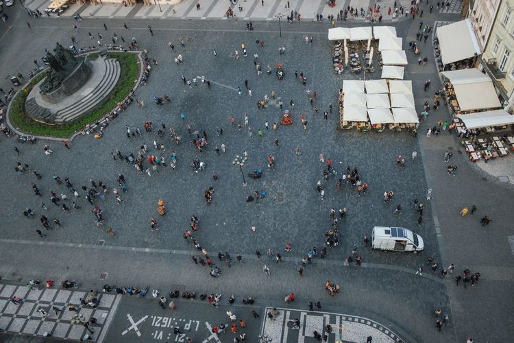 High angle view of crowd on street in city