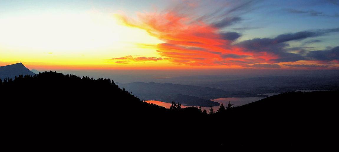 Sunset Sky Cloud - Sky Silhouette Scenics - Nature Beauty In Nature Zugerberg 🚵🏻♀️ Zug Unterägeri