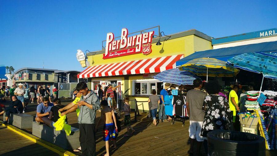 Pier Burger Santa Monica Pier Santa Monica Beach People Weekend Restaurant