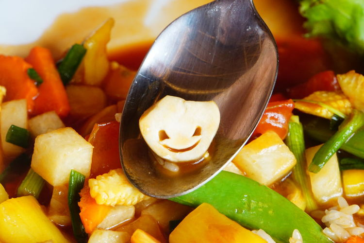 Asian Dish Holidays In Thailand Khao Lak Colourful Vegetables Cooked Vegetable Mix Fresh Vegetables Happiness While Eating Happy Vegetable Healthy Eating Mushroom On A Spoon No People No Photoshop Ready-to-eat Smiling Mushroom Sony A6000