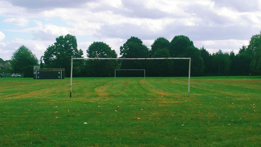 The Color Of Sport Playground Football Field Goal Posts Goal Post Perspective My Perspective Goal Post Green Green Field With Trees Green Playground