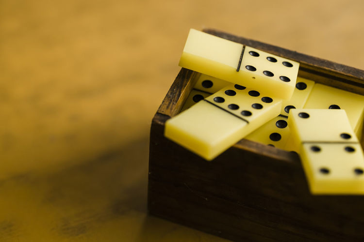 High Angle View Of Domino Game On Table