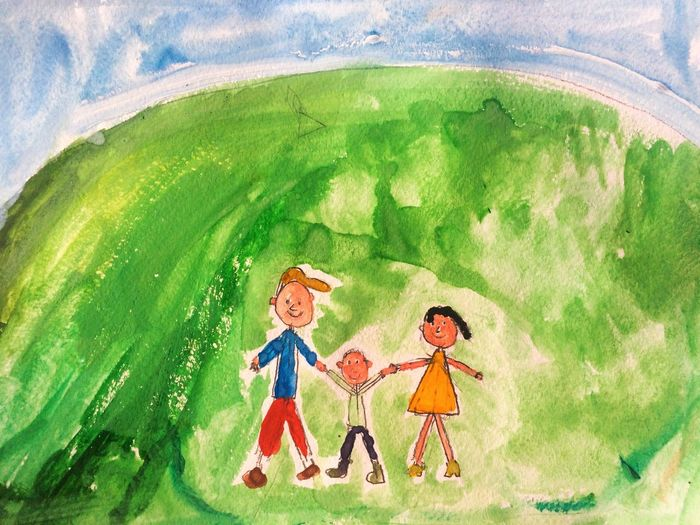 Alex Drawing 7 years old Family People Boy Son Parents Mother Father Child Drawing Hand Drawing Drawing Picture Child Paint Watercolor Painting Smiling Colorful Imagination Painted Image Алекс рисует Happy Family Man Woman