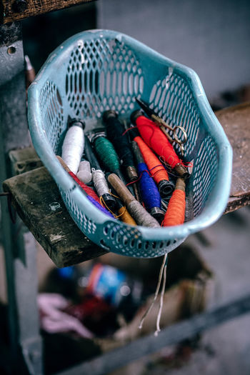 Thread Goodies Fashion Industry Isolated Needlework Orange Red Background Black Blue Closeup Cloth Clothing Color Colorful Cotton Craft Design Detail Embroidery Fabric Fiber Needle Needles Pattern White