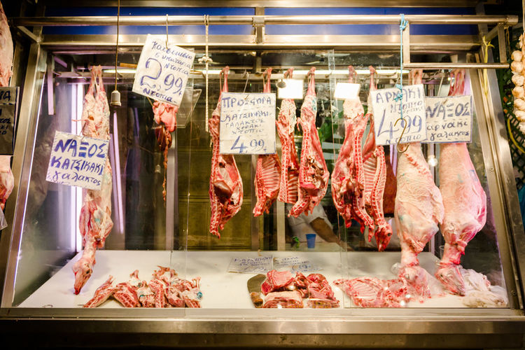 Meat Hanging In Butcher Shop