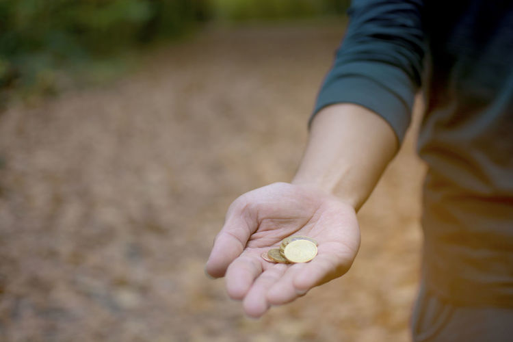 Hand man holding a pile of Germany coins with fall leaves background, Deutsche gold coin, saving money concept One Person Human Hand Hand Holding Human Body Part Day Adult Nature Real People Lifestyles Freshness Outdoors Pile Money Coins Deutsche Saving Banking Business Finance Counting Deposit Wealth Baking Germany Gold Coins