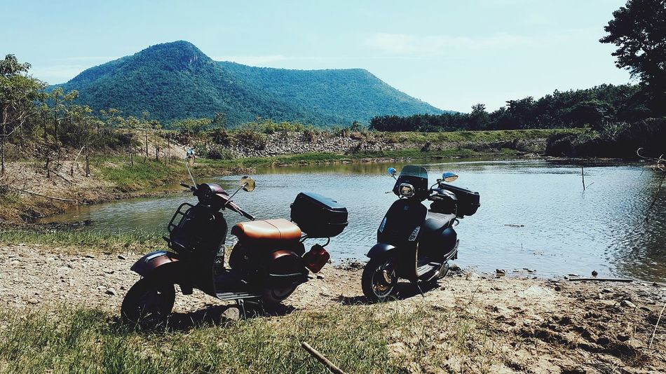 EyeEm Selects Vespa Nature Outdoors Mountain Water Friend Vespasprint LMLStar Vespathailand Travel Photography Nature Traveller Travel Roadtrips Thailand Lml200 Sky And Clouds Classic Thailandtravel Vacation Time Vacations Touring With Friends