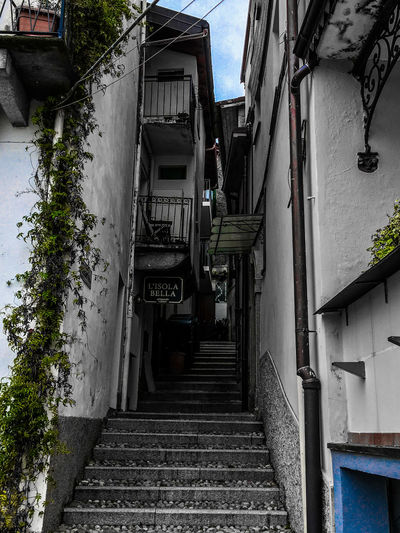 Alley Architecture Building Building Exterior Built Structure City Communication Day Direction House Low Angle View Narrow No People Outdoors Plant Railing Residential District Staircase Steps And Staircases Text The Way Forward