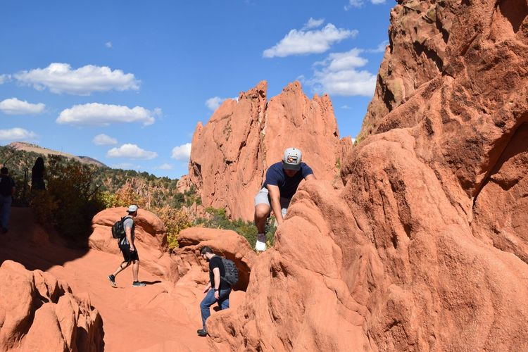 Rock - Object Adventure Challenge Extreme Sports Rock Climbing Climbing Outdoors Hiking Cloud - Sky Nature Courage Sport Conquering Adversity Day Relaxation Exercise Sky Mountain Real People Landscape Adults Only Garden Of The Gods Nofilternoedit
