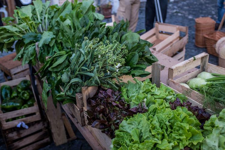 Leaf Vegetables For Sale At Market Stall