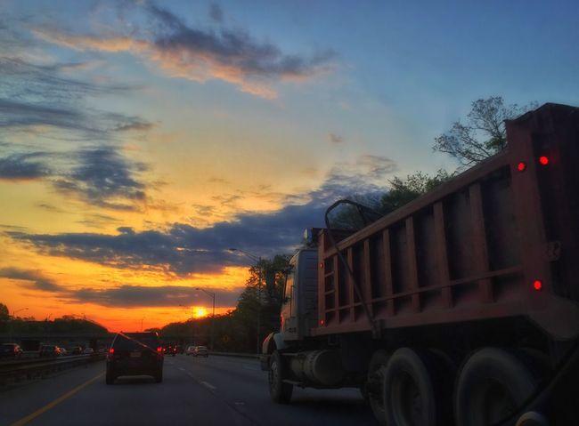 Into the sun Sunrise Commuting Truck Washington DC Hometown Morning I Need Sleep