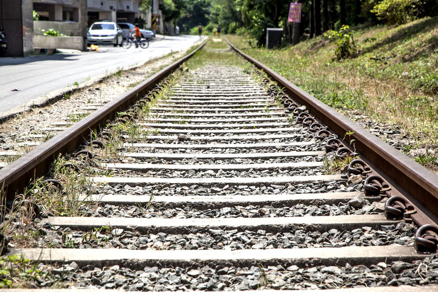 Absence Composition Connection Day Diminishing Perspective Empty Footpath Leading Leading Lines Long Narrow Parallel Perspective Rail Transportation Railroad Railroad Track Railway Receding Road Road Marking Shadow Steps The Way Forward Transportation Vanishing Point