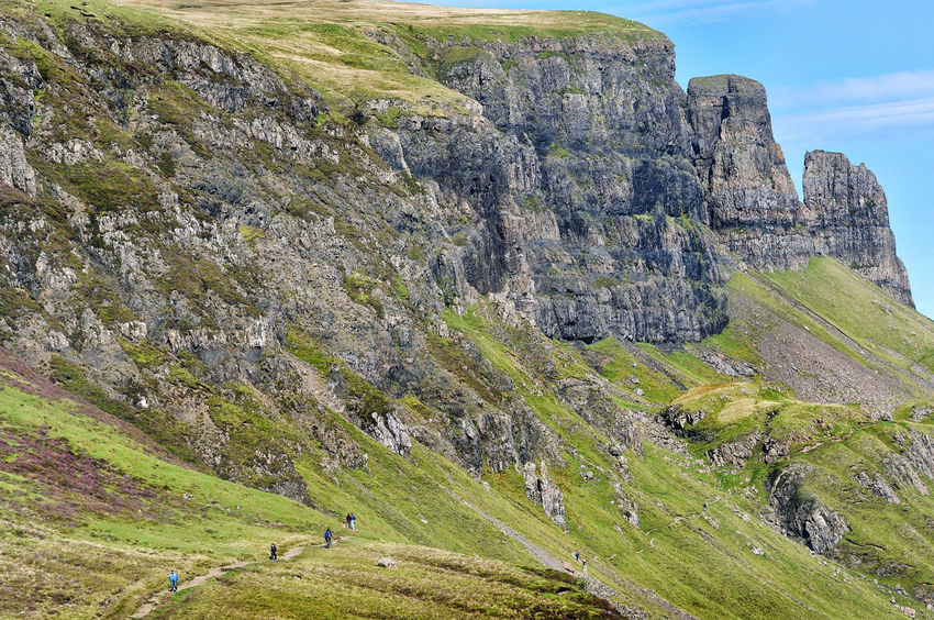 The Quiraing, Isle of Skye Hiking Scotland Skye Cliff Grass Green Color Isle Of Skye Land Landscape Leisure Activity Mountain Nature Non-urban Scene Outdoors Rock Rock Formation Scenics - Nature The Quiraing Walking