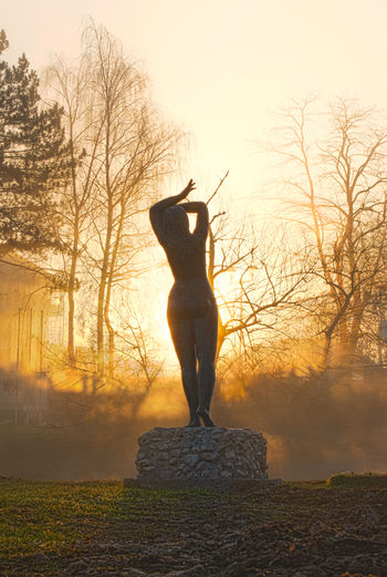 Statue of man standing on rock during sunset