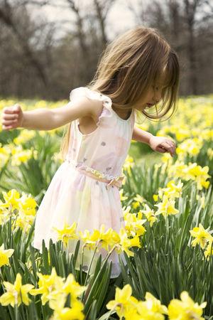 Child Childhood Daffodil Day Dress Females Field Flower Flowering Plant Flowers Girls Innocence Nature Plant Yellow
