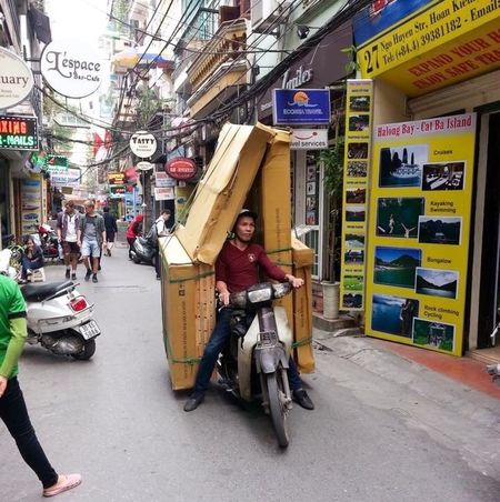 Boxed In Delivery Service Xe Om Hanoi, Vietnam Xeom Delivery Man Street Photography Vietnam The Things You See  Only In Vietnam Amateur Photography The Courier Old Quarter, Hanoi Phố Cổ Making A Living
