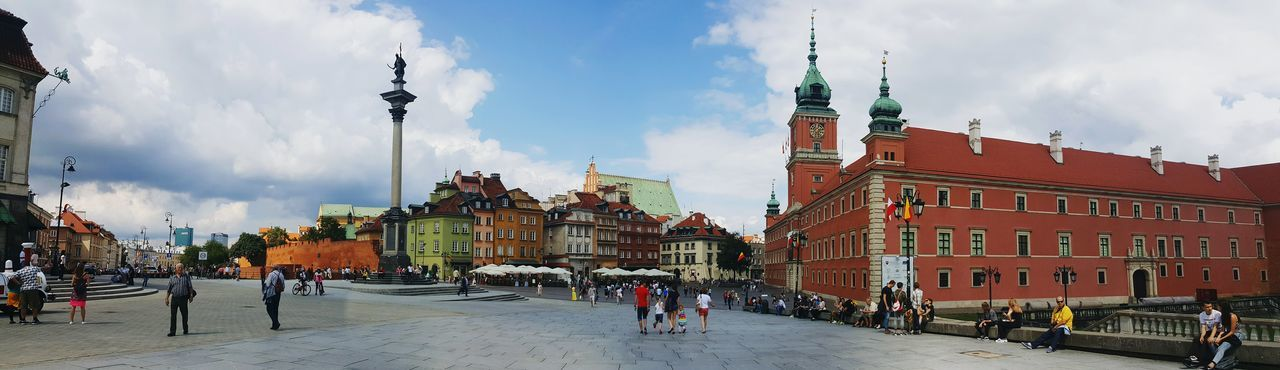 Architecture Building Exterior Street Sky City Tourist Clock Tower Famous Place Travel Destinations Town Square Old Town Warsaw Warsaw Old Town Panorama Panoramic Panoramic View Castle Panoramashot