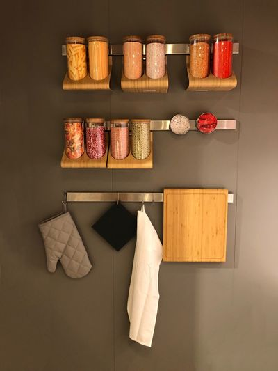 Taking Photos Shape Container Kitchen Display Storage Variation Choice No People Hanging In A Row Arrangement Indoors  Wood - Material Still Life Multi Colored Large Group Of Objects Neat Group Of Objects Side By Side Order Food And Drink Wall - Building Feature