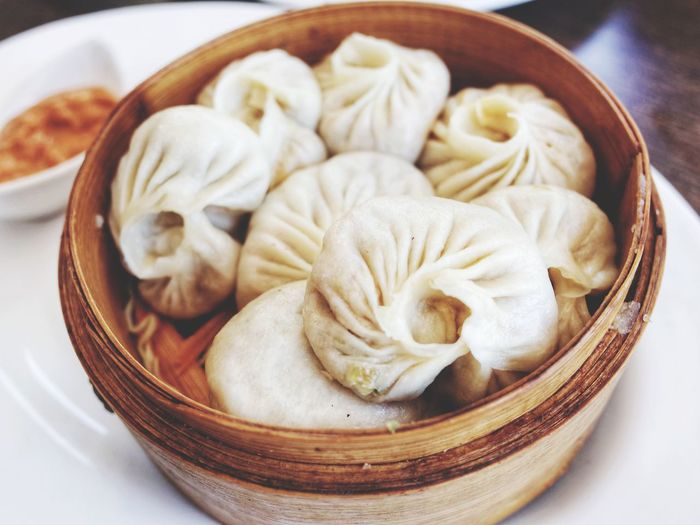 High angle view of dumpling in bowl on table