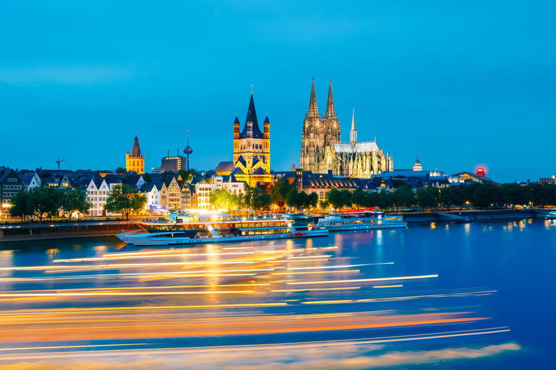 Great St. Martin Church And Dom In Cologne At Evening With Reflection In River Rhine. Architecture Cathedral Church City Cityscape Cologne Exterior Famous Gothic Light Reflection Travel View Building Europe Germany Glowing Great St. Martin Church Illuminated Köln Landmark Night Scene Urban Water HUAWEI Photo Award: After Dark #urbanana: The Urban Playground My Best Travel Photo A New Beginning Capture Tomorrow It's About The Journey My Best Photo