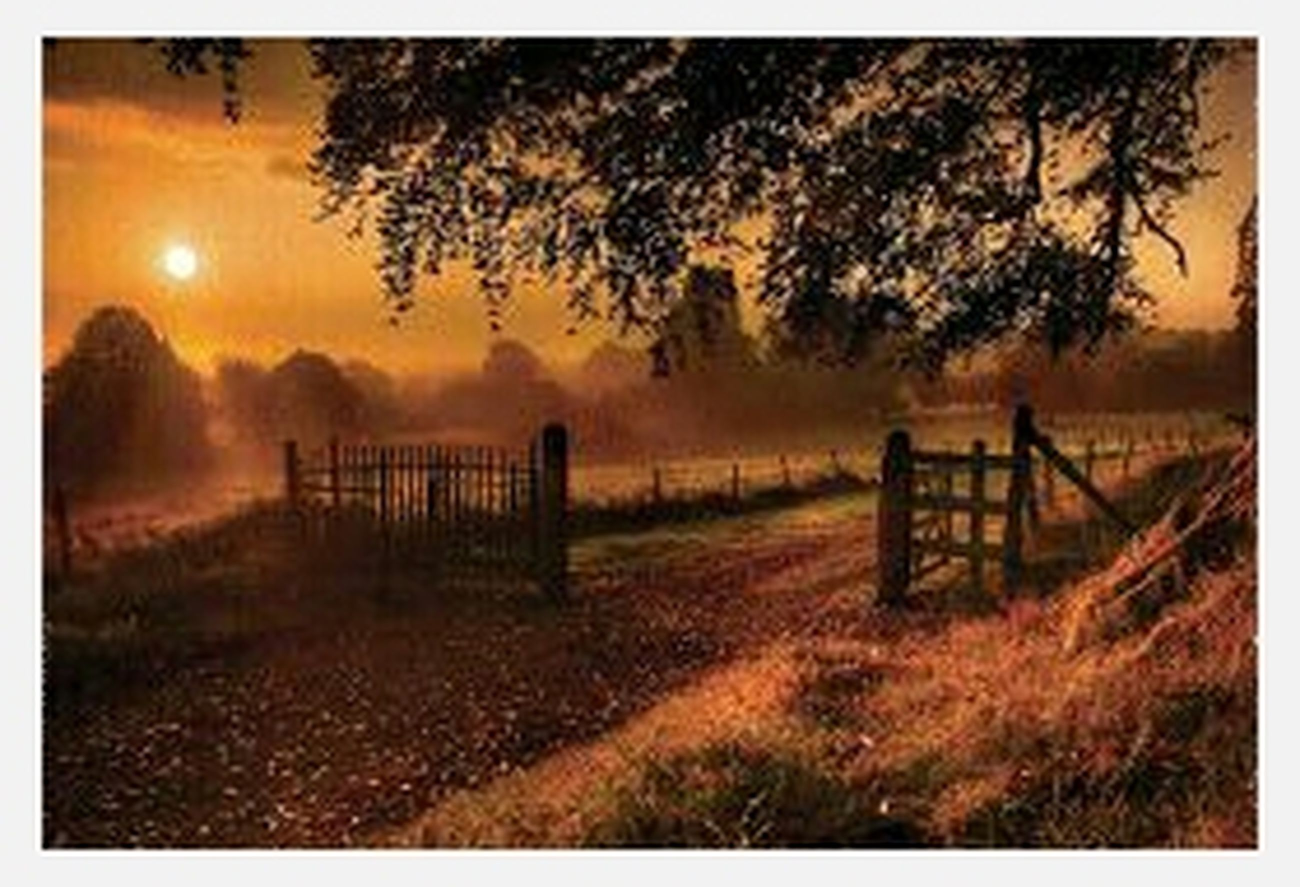 fence, tranquility, tranquil scene, sunset, field, scenics, sky, landscape, nature, beauty in nature, grass, transfer print, auto post production filter, wood - material, protection, safety, tree, cloud - sky, idyllic, rural scene