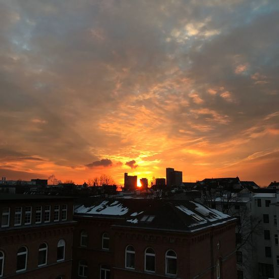 On the roof top! Architecture Building Exterior Sunset Built Structure City Sky Orange Color Cloud - Sky No People Residential Building House Outdoors Nature Cityscape Hamburg Sunset Silhouettes Sunsetsky Coldwinter Geometryglobalhamburg