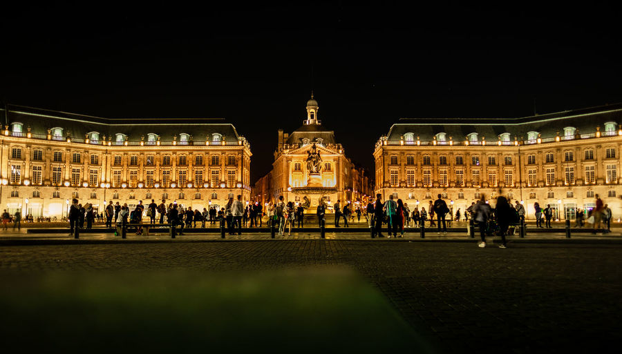 Place de la Bourse in Bordeaux, France. Architecture Bordeaux City France Gold Golden Historical Building Night Photography Nightphotography Tourists Travel Travel Photography Fujifilm Fujifilm_xseries Historic History Illuminated Large Group Of People Night Old Buildings People Street Street Photography Streetphotography Tourism