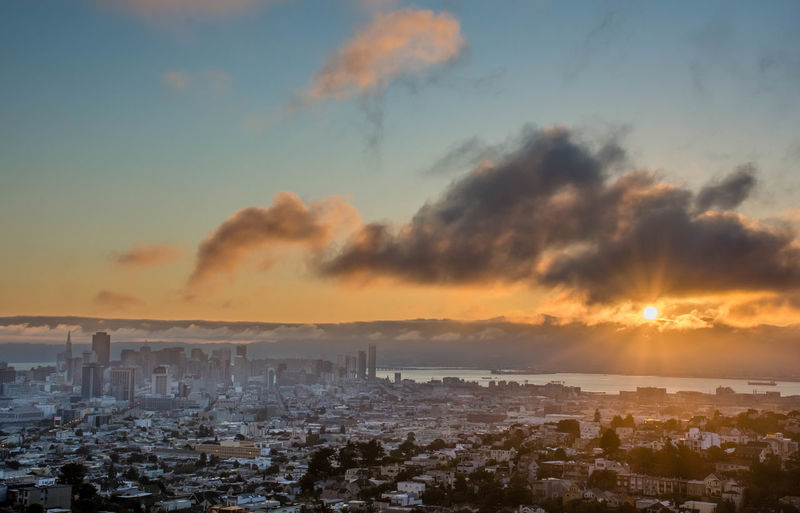 Good morning, San Francisco Architecture Atmospheric Mood Cityscapes Cloudscape Cloudy Downtown Dramatic Sky EastBay Morning Sanfrancisco Sky Sunrise Sunset Tranquil Scene