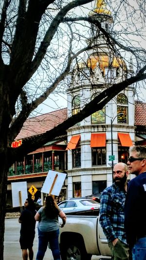 KCMO Country Club Plaza Kansas City Missouri Tree Real People Building Exterior Architecture People Eyem GalleryDemonstration Street Photography Sunset Marching Park City Outdoors Tree EyeEm Best Shots Irwin Collection Resist! Resist By ICP