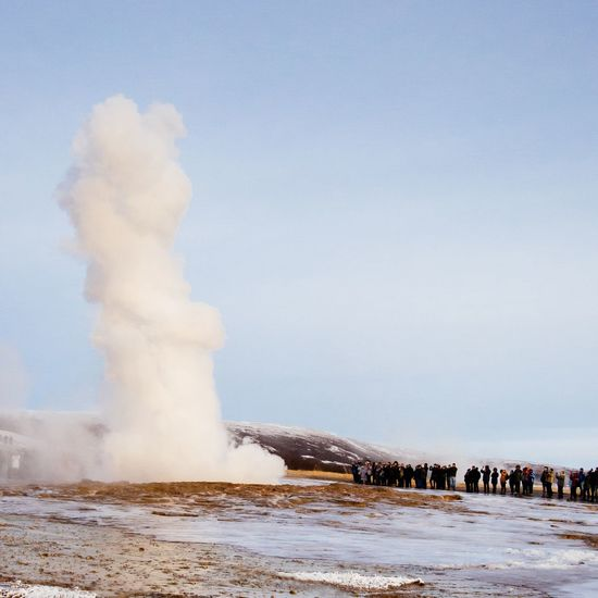 Geysir Iceland Geyser Nature Water Beauty In Nature Outdoors Motion Scenics Day Power In Nature Winter Travel Destinations Large Group Of People Hot Spring People