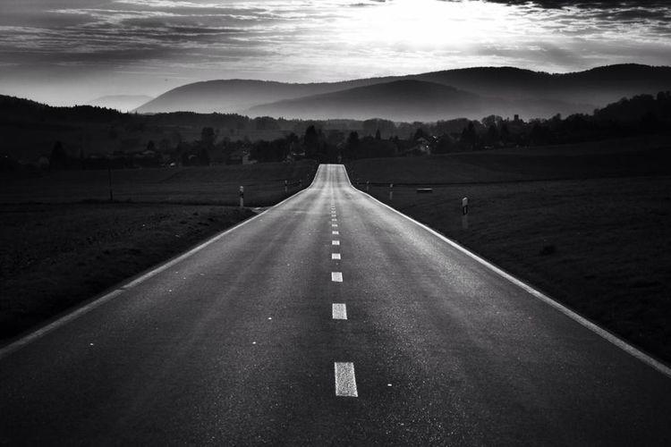 Vanishing Point Road near Lamboing/Canton of Bern/Switzerland Switzerland On The Road