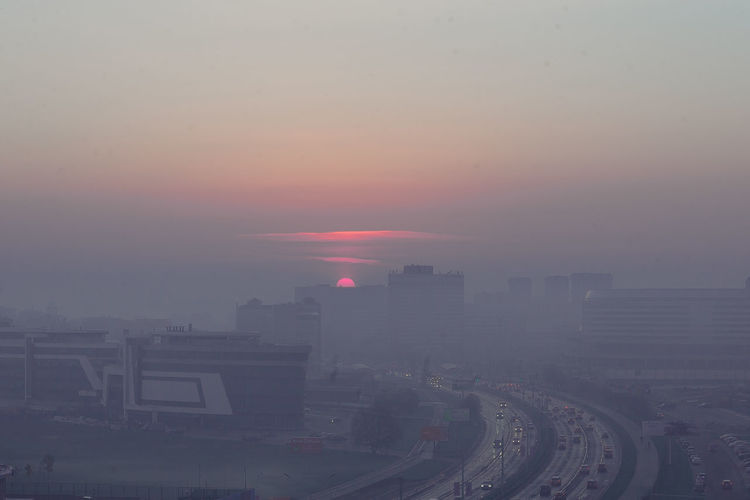 Sunrise Sunrise Morning Sunrise October Fog City Minsk Sunrise And Clouds Autumn In The City High Foggy Morning City Cityscape Urban Skyline Skyscraper Sunset Fog Smog Cold Temperature Downtown District Environment