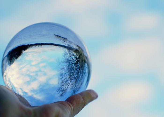 Sky Blue And Clouds Reflection Crystal Ball Blue Sky Planet Earth Touching Holding Winter Day Cold Temperature Every Picture Tells A Story Fantastic View Lovelife Nature Beauty In Nature Sunlight First Eyeem Photo Glass Reflection Glass Art Glass Ice Outdoors Love To Take Photos ❤ Happy :)
