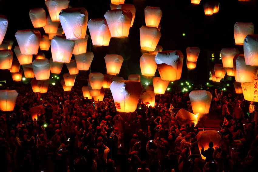 New Taipei City Lantern Festival folk culture festival daylight Festival Season Holiday Taiwan Abundance Celebration Crowd Culture Festival Folk Illuminated Indoors  Lantern Lantern Festival Large Group Of People Lighting Equipment New Taipei City Night People Sky Lantern Traditional Festival