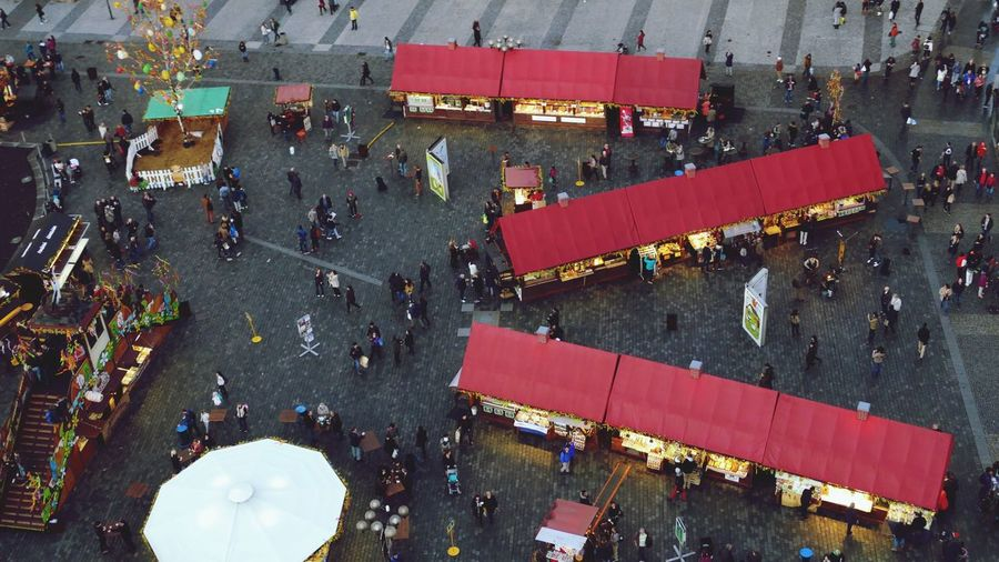High angle view of people at market during easter