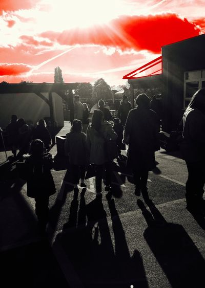 School Playground Red Sky Light And Shadow Kids And Parents Dramatic Sky School Home Time Hometime