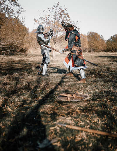 Warriors fighting in forest