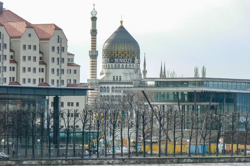 Yenidze old tabacco factory Foreground the parlament of Saxony Glass Dome Yenidze Tabaksmoschee Moschee Style Architecture Building Exterior Built Structure City Day Factory Old Tabacco Factory Outdoors Travel Destinations Dome